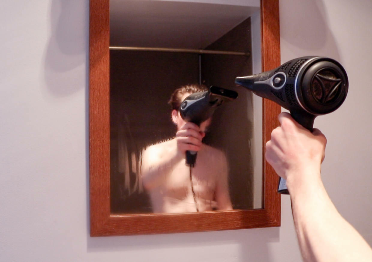 Blow dry the mirror