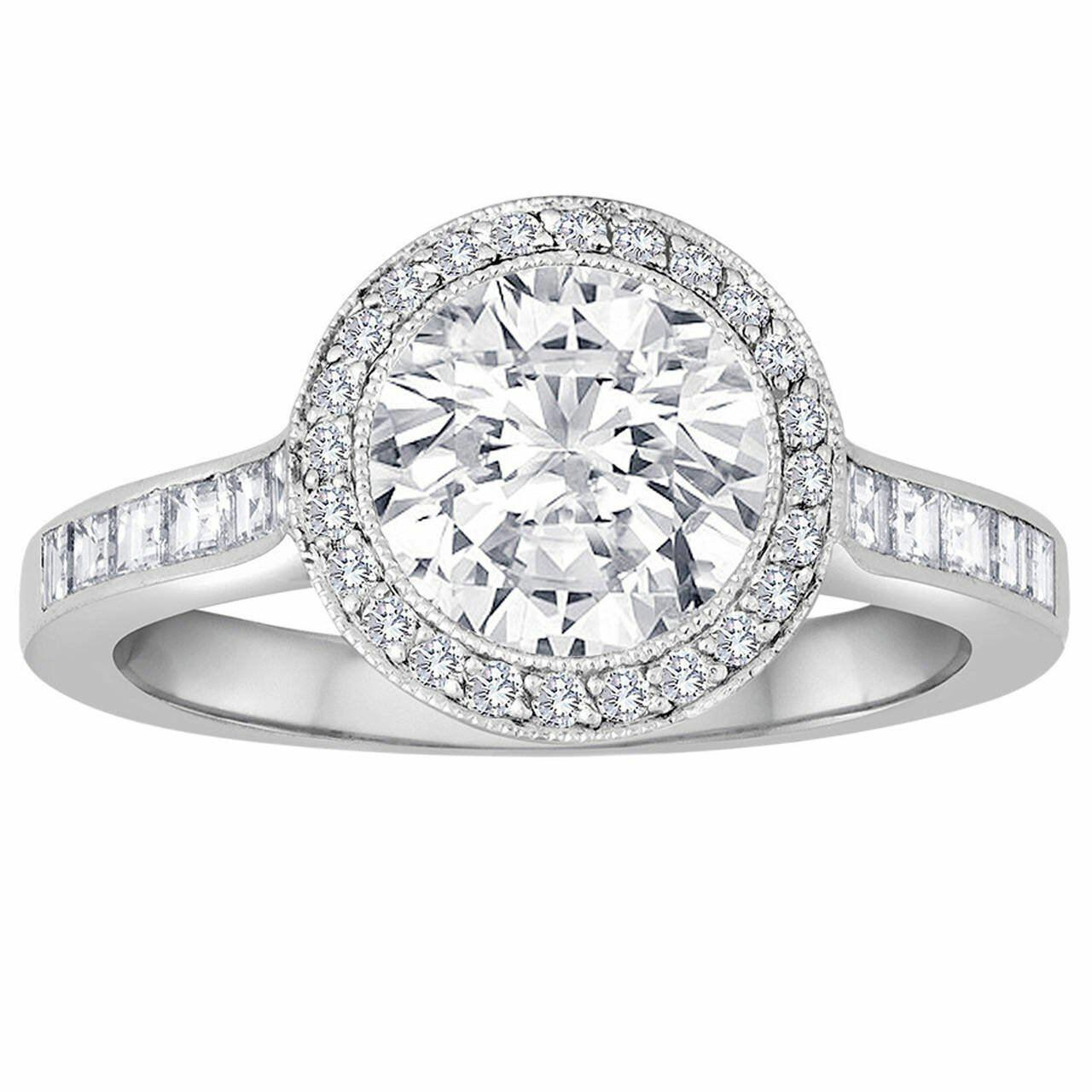 1.67 ct Tiffancy halo diamond engagement ring