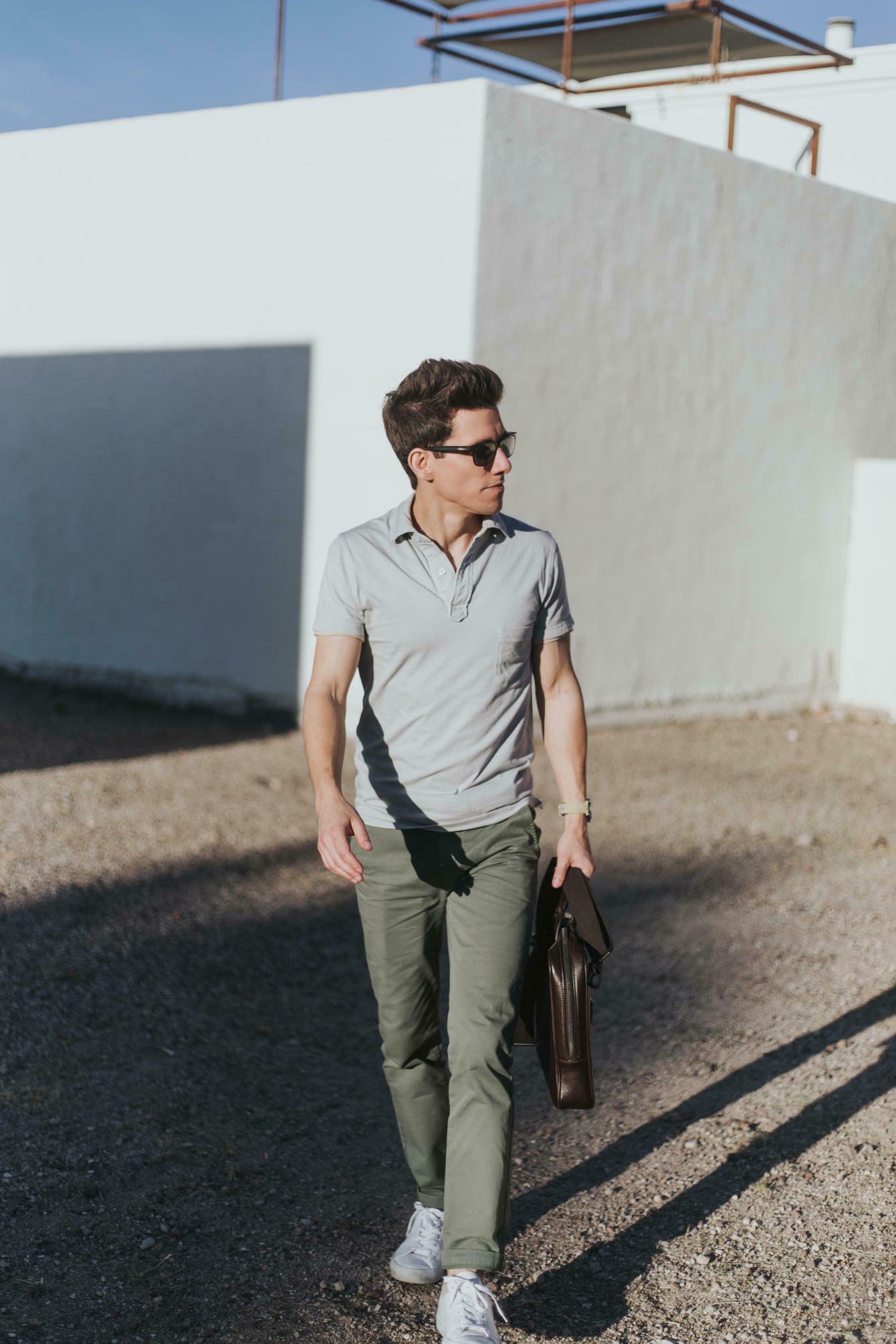 Grey polo with olive chinos