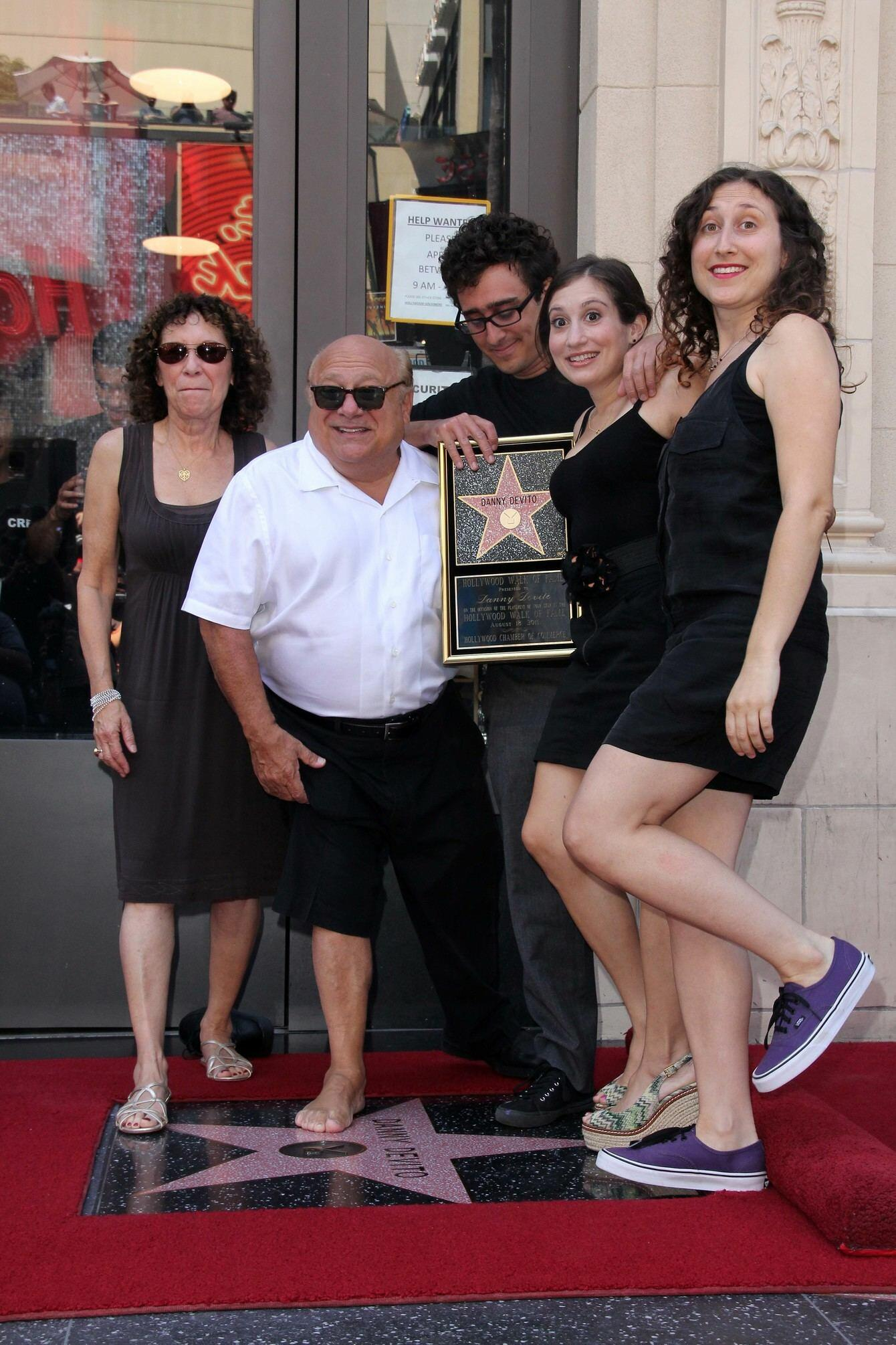 Danny DeVito with family on the Hollywood Walk of Fame