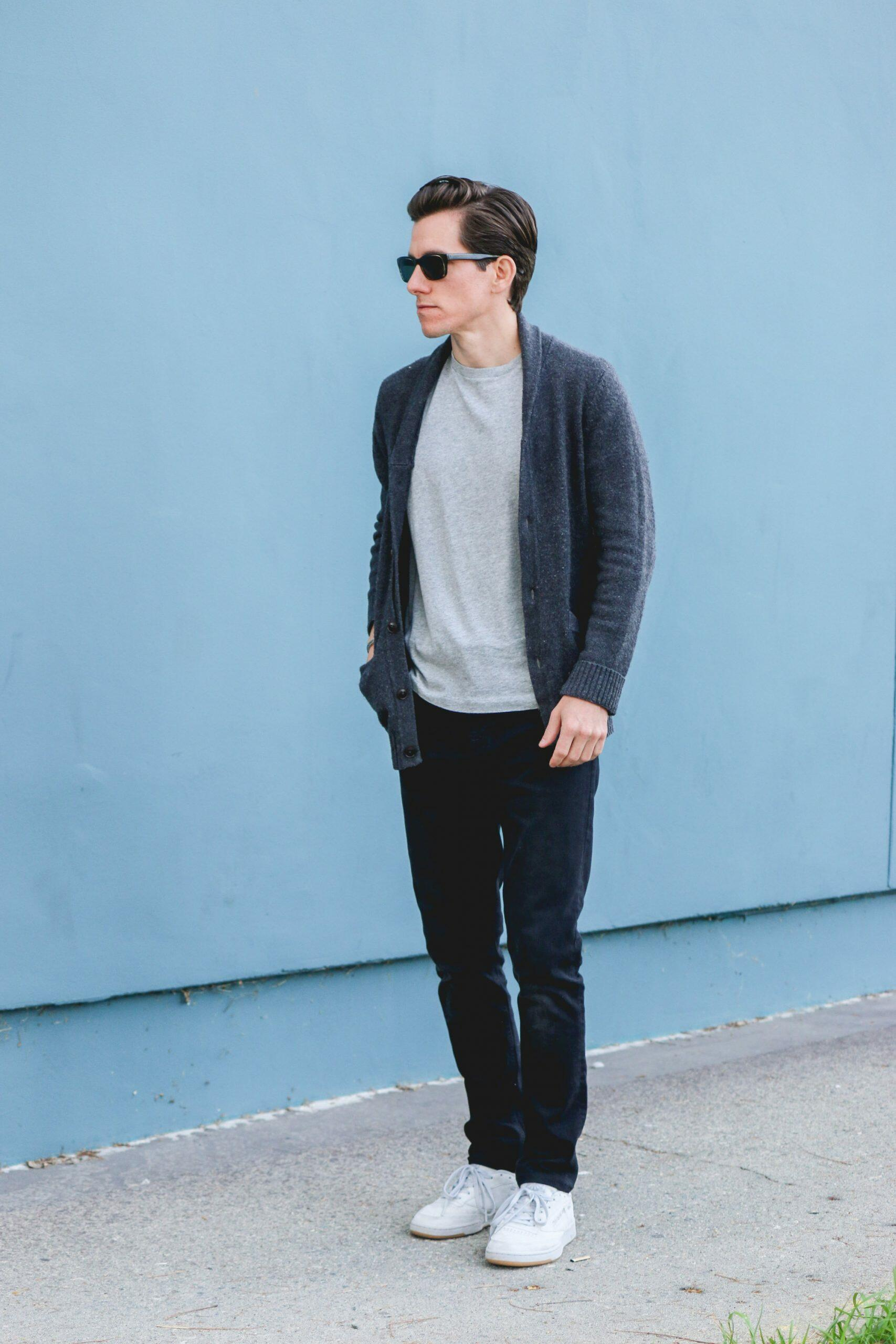 Shawl cardigan over t-shirt