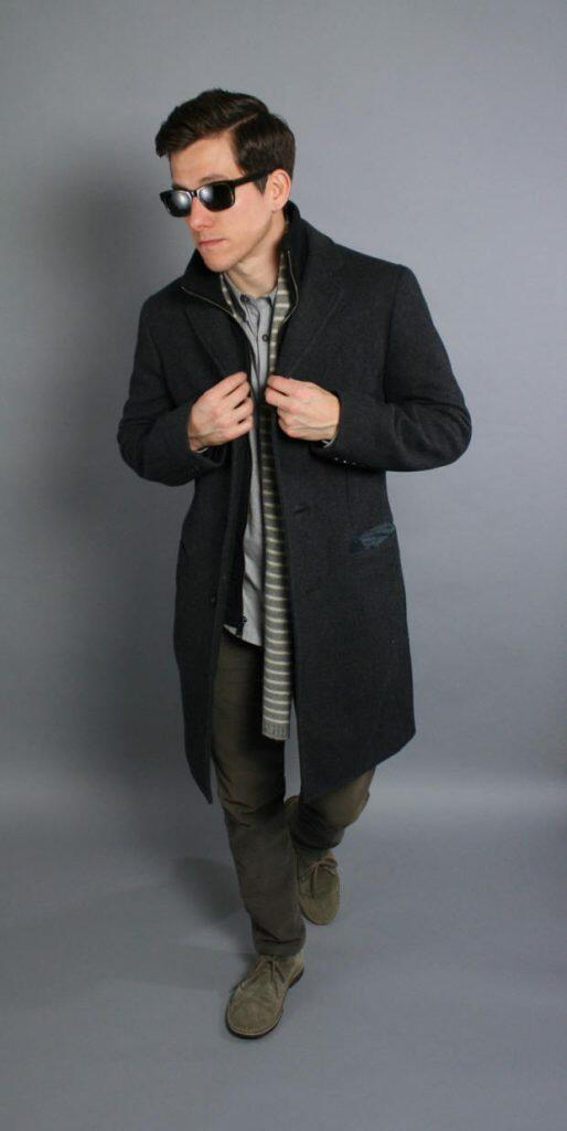 Grey coat and scarf