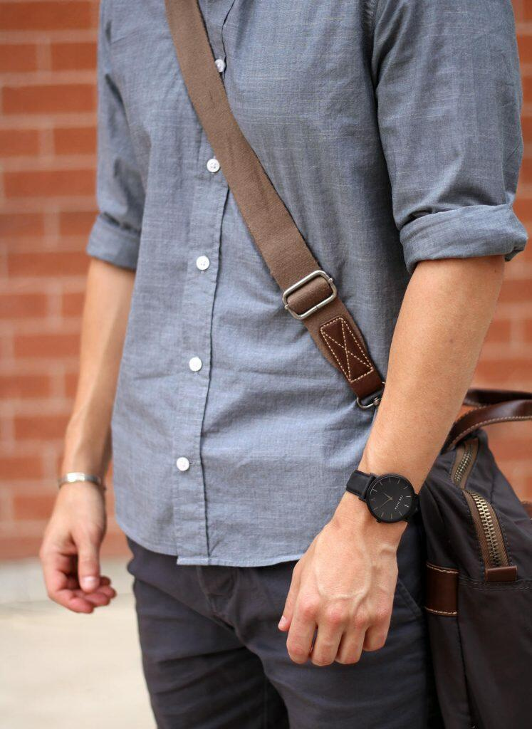 Casual grey outfit details