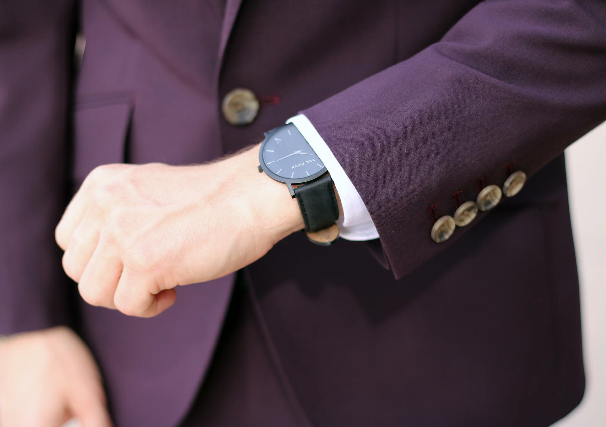 Burgundy suit with black watch