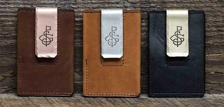Three leather wallets