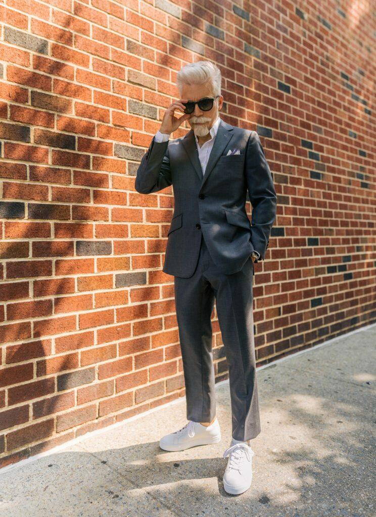 Suit with sneakers