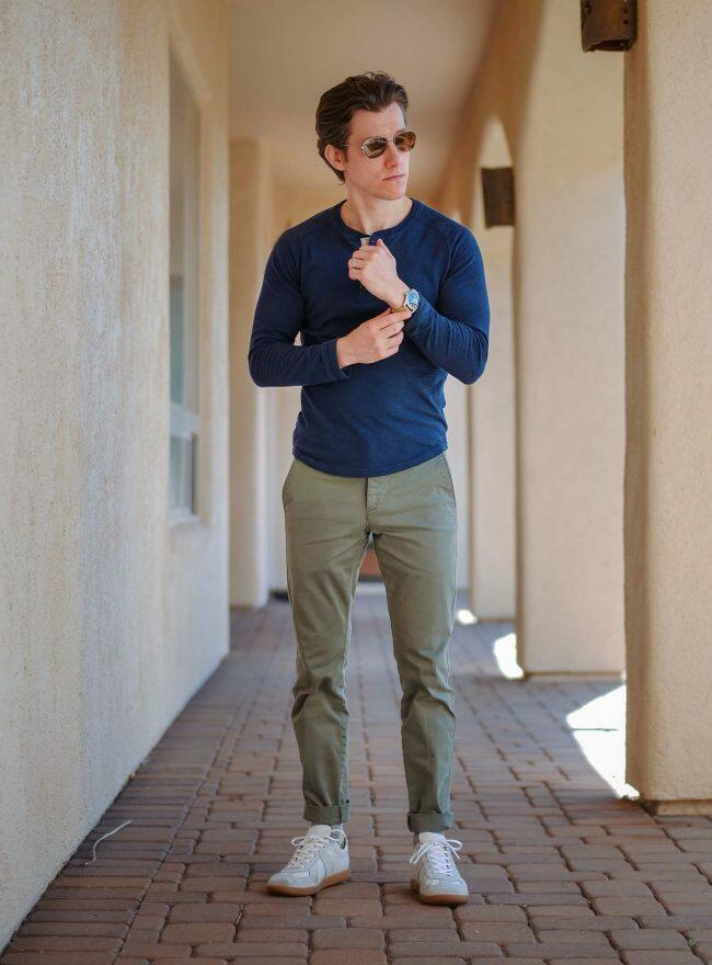 Blue henley olive chinos