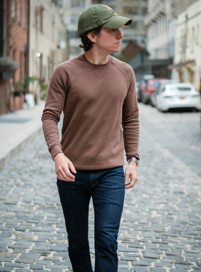 Brown Sweater and Blue Jeans