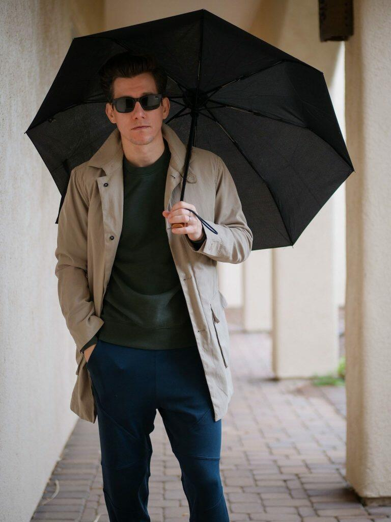 Tan Raincoat With Joggers