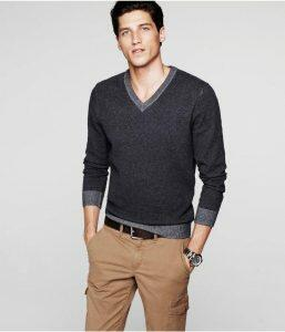 V-neck sweater worn alone