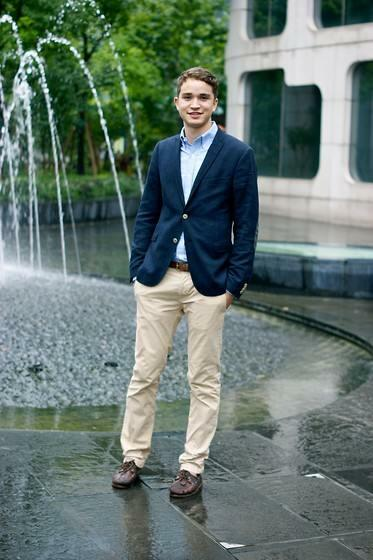 Boat shoes with khaki pants and blazer