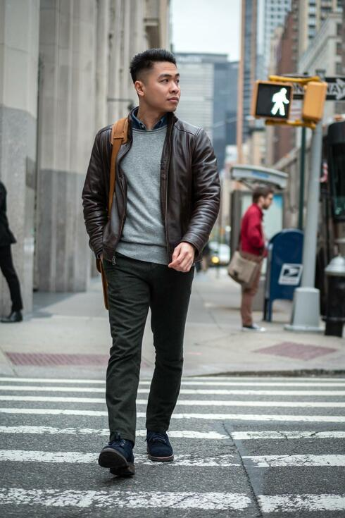 Khoi in NYC wearing smart casual outfit