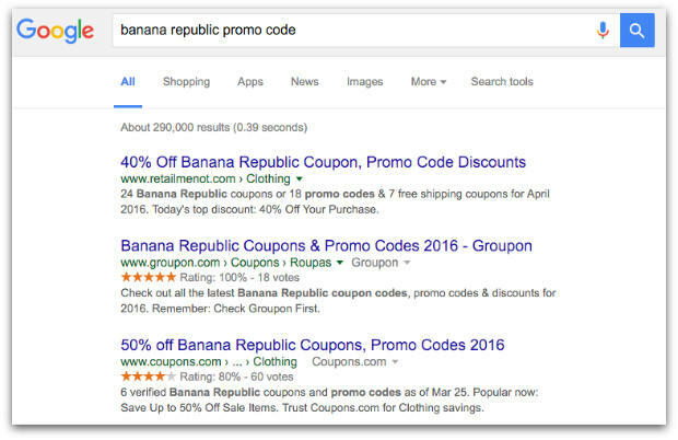 Google search for discount codes